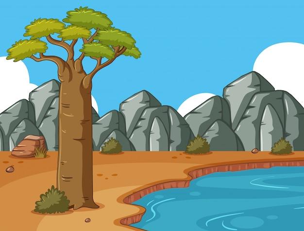 Scena con montagne rocciose e stagno