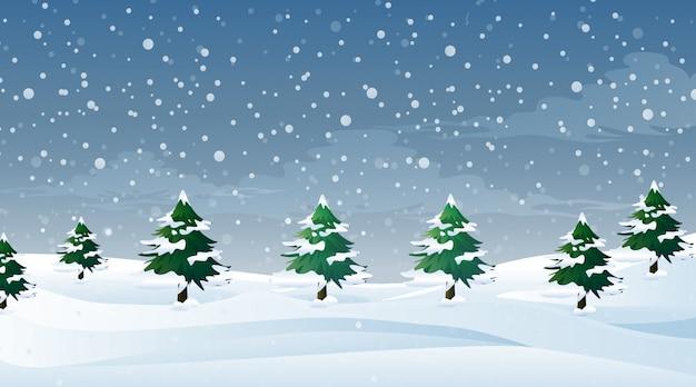 Scena con neve che cade sul campo