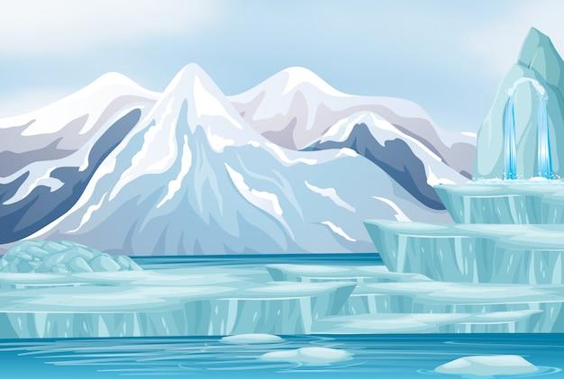 Scena con neve sulle montagne