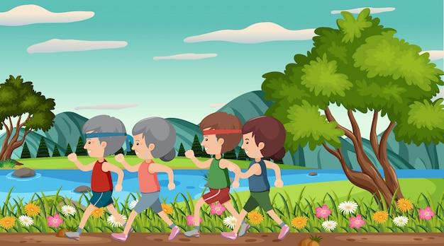 Scena con persone anziane che corrono nel parco