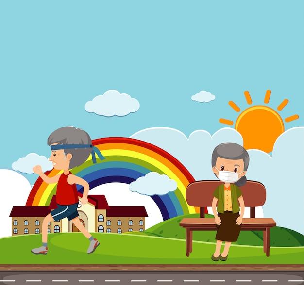 Scena con persone anziane nel parco