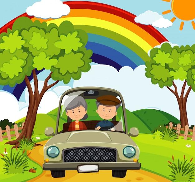 Scena con persone che guidano nel parco