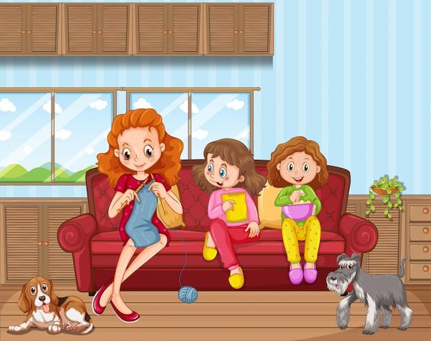Scena con persone in famiglia che si rilassano a casa