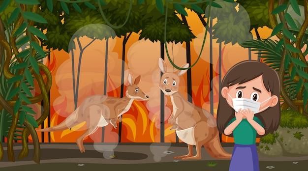 Scena con ragazza e canguri nel grande incendio