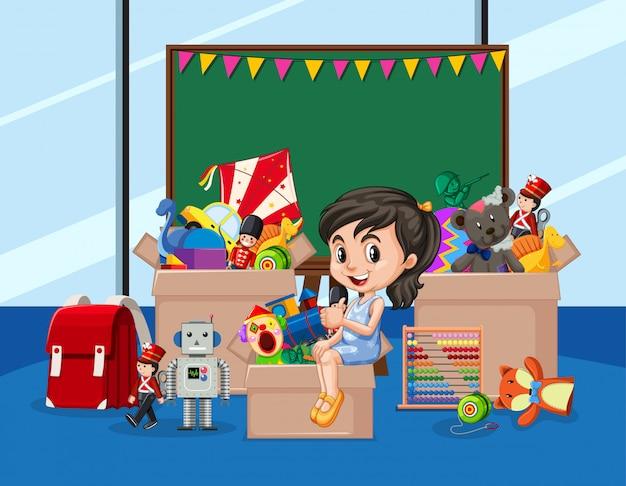 Scena con ragazza e molti giocattoli nella stanza