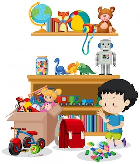 Scena con ragazzo che gioca giocattoli nella stanza