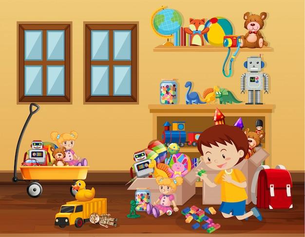 Scena con ragazzo che gioca giocattoli sul pavimento