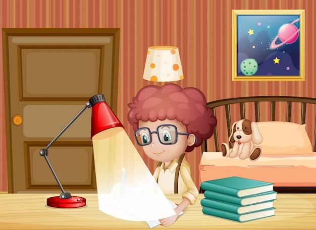 Scena con ragazzo che lavora ai compiti in camera da letto