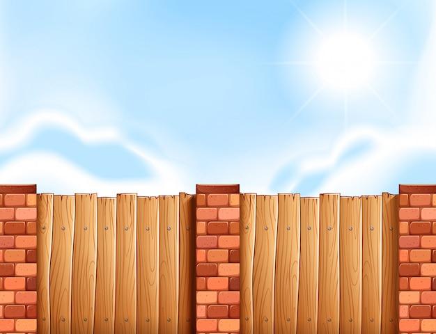 Scena con recinzione in legno