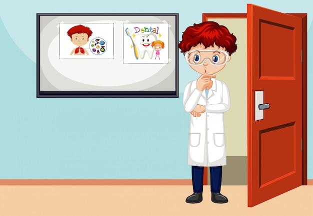 Scena con scienziato maschio in piedi nella stanza