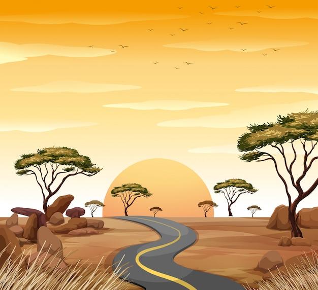 Scena con strada vuota al tramonto