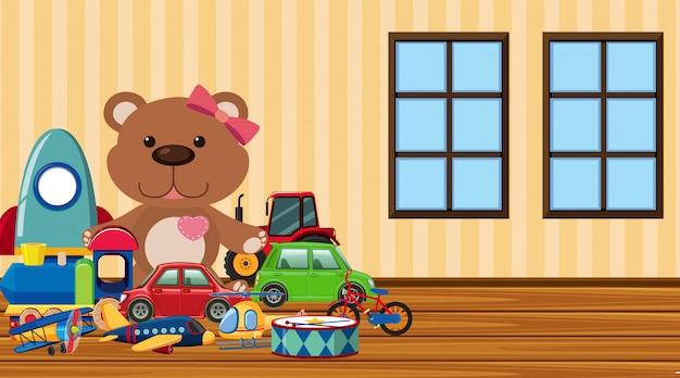 Scena con tanti simpatici giocattoli sul pavimento
