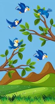 Scena con uccelli blu che sorvolano il campo