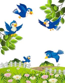 Scena con uccelli blu che volano nel cielo