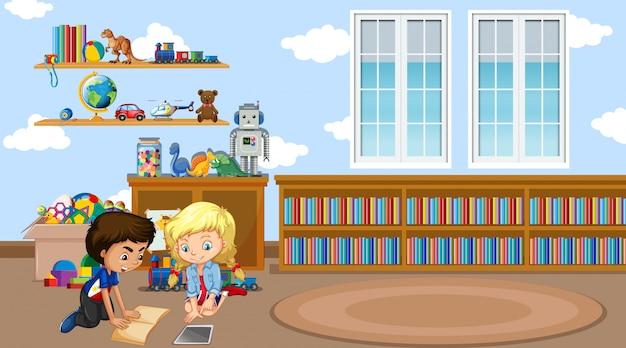 Scena con un libro di lettura di due bambini nell'aula