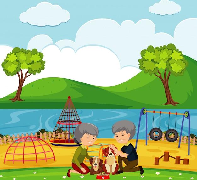 Scena con vecchie coppie e cani nel parco