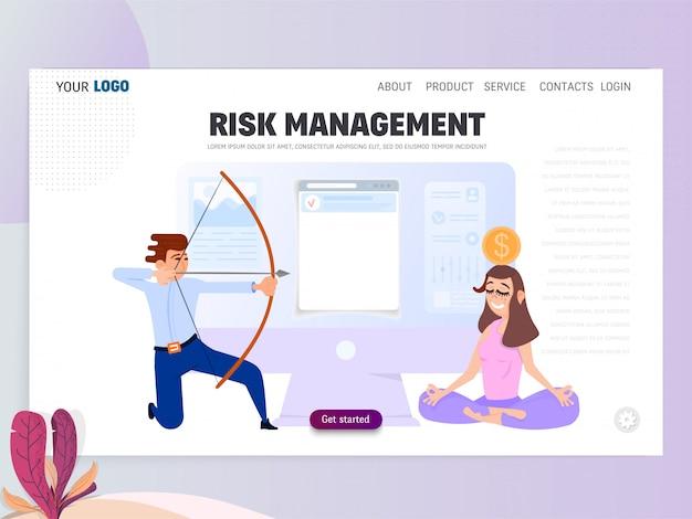 Scena d'affari con persone minuscole, concetto di gestione del rischio.
