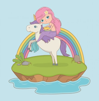 Scena da favola con principessa in unicorno