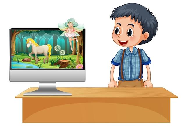 Scena da favola sullo schermo del computer