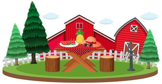 Scena da picnic con cibo sul tavolo