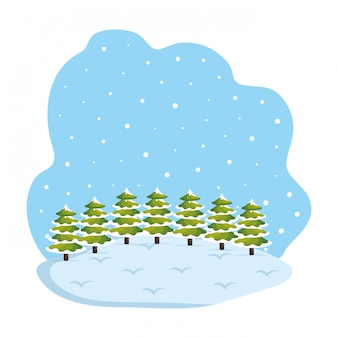 Scena del campo di snowscape di giorno