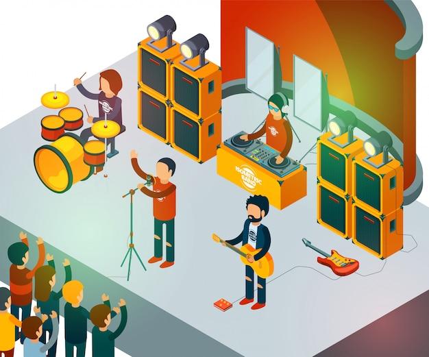 Scena del concerto. concetto di vettore della folla di intrattenimento della gente di canto della banda rock isometrica