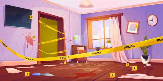 Scena del crimine, luogo del delitto con nastro giallo della polizia