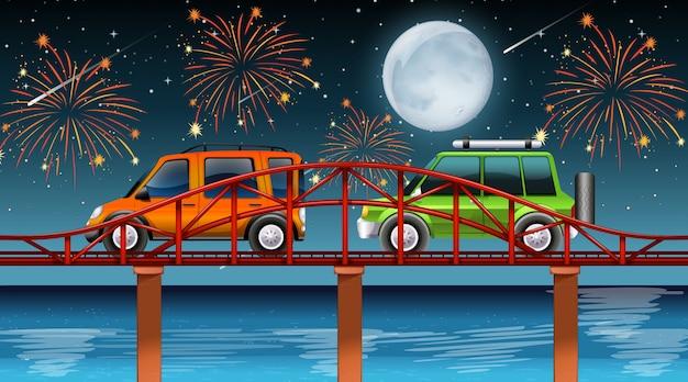 Scena del fiume con fuochi d'artificio celebrazione
