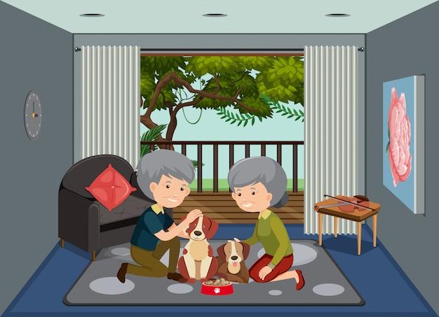 Scena del fondo con le vecchie coppie che restano a casa