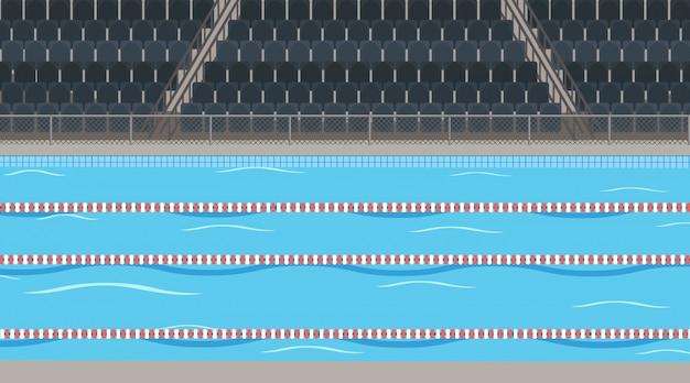 Scena del fondo della piscina con lo stadio
