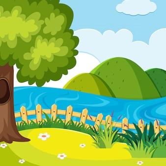 Scena del lago in natura