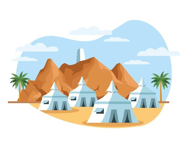 Scena del paesaggio del deserto con progettazione dell'illustrazione di vettore delle tende