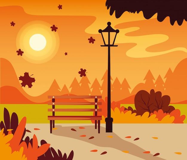 Scena del paesaggio di autunno con la sedia del parco