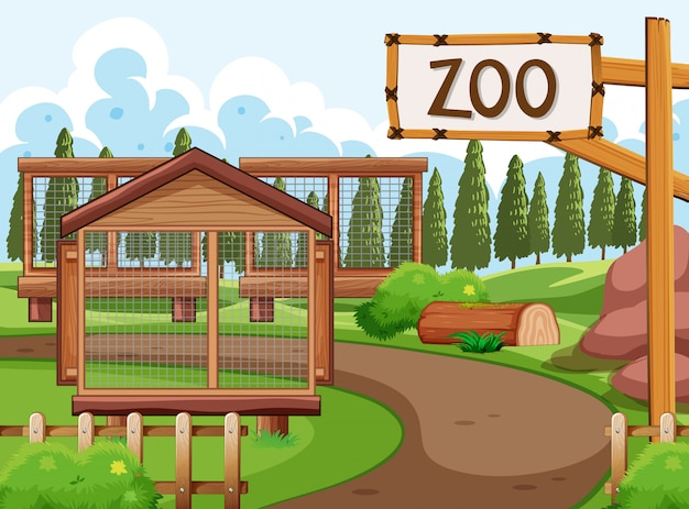 Scena del parco zoo con molte gabbie