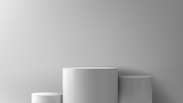Scena del podio o colonna rotonda stand scena e vincitore piedistallo in studio su sfondo grigio o bianco minimo