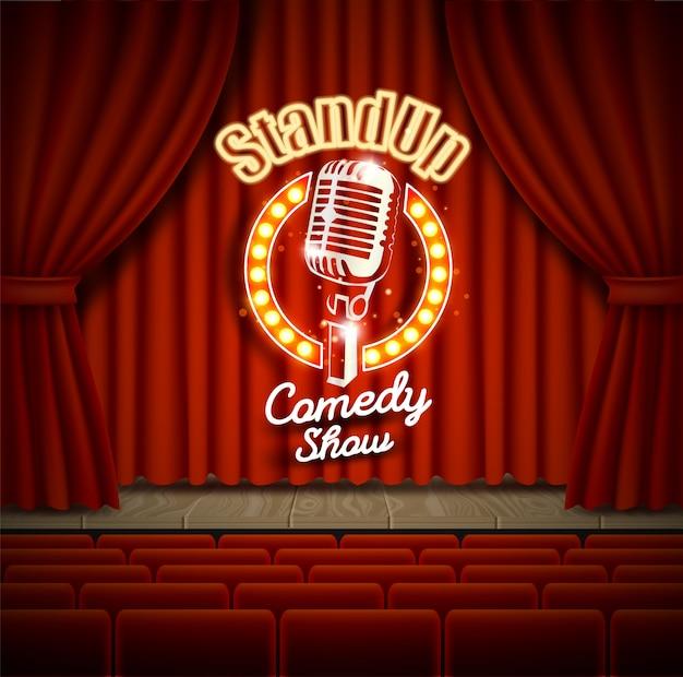 Scena del teatro di spettacolo commedia con l'illustrazione realistica delle tende rosse
