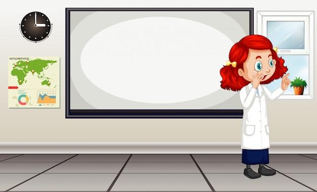 Scena dell'aula con insegnante di scienze dal consiglio di amministrazione