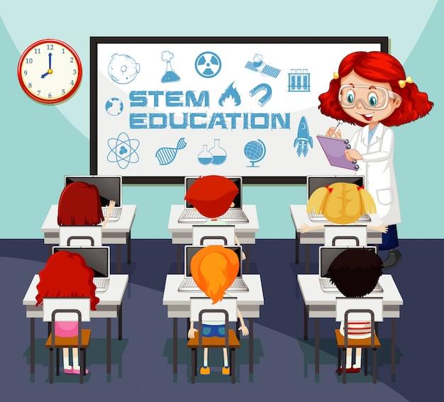 Scena dell'aula con l'insegnante di scienze e l'apprendimento degli studenti