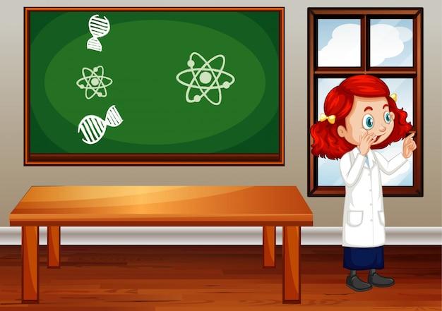 Scena dell'aula con lo studente di scienze dentro