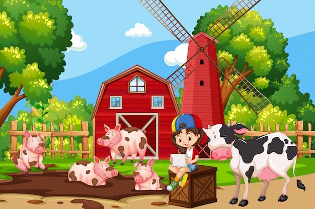Scena dell'azienda agricola con maiale e mucche