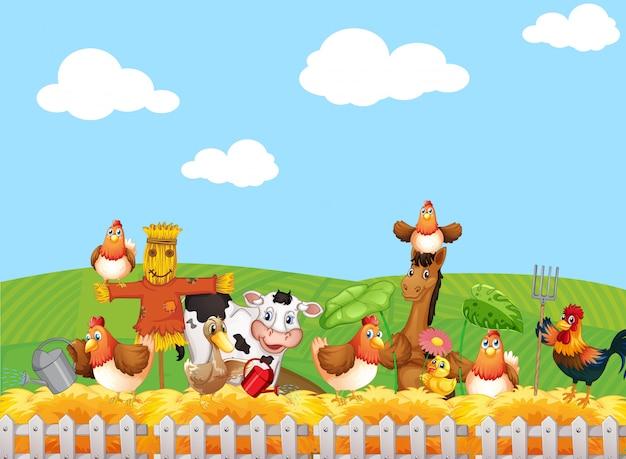 Scena dell'azienda agricola con stile cartone animato fattoria degli animali