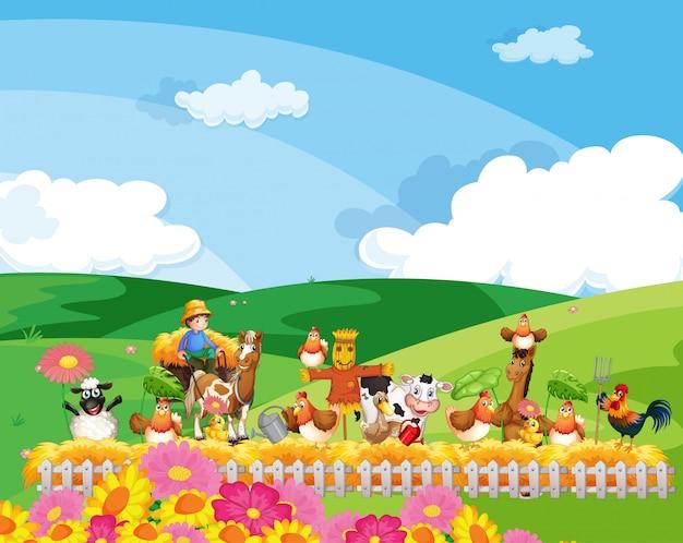 Scena dell'azienda agricola con stile del fumetto della fattoria degli animali