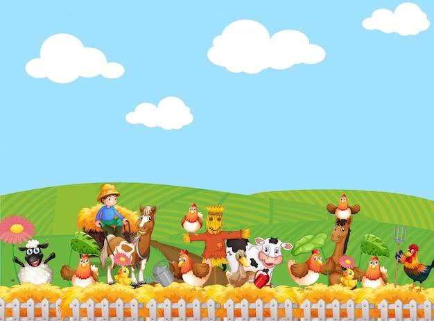 Scena dell'azienda agricola e cielo in bianco con stile del fumetto della fattoria degli animali