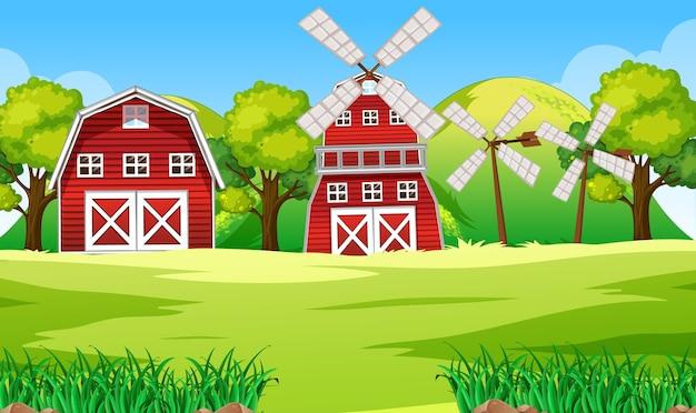 Scena dell'azienda agricola in natura con fienile e mulino a vento