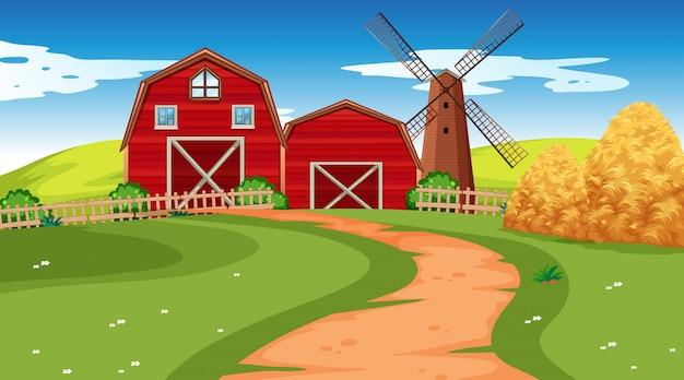 Scena dell'azienda agricola in natura con il granaio