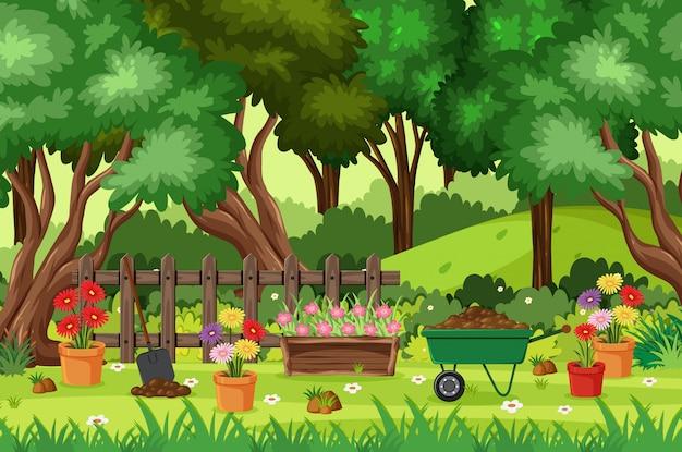 Scena dell'illustrazione con gli alberi e fiori nel parco