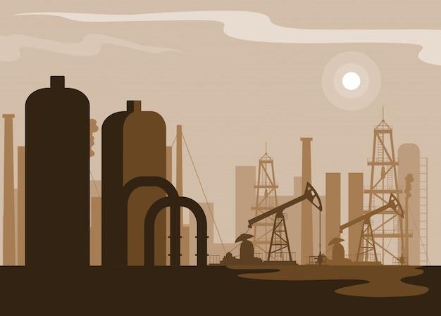 Scena dell'industria petrolifera con la conduttura della pianta