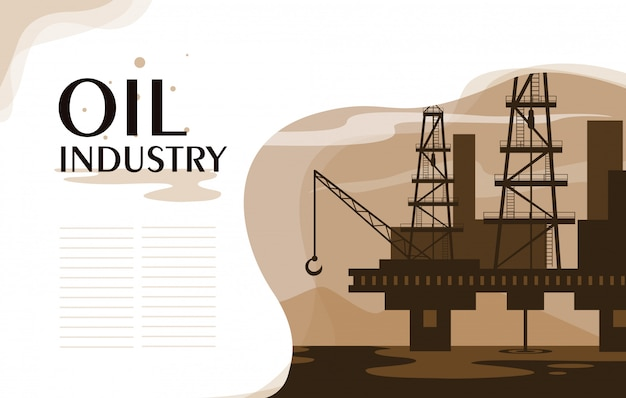 Scena dell'industria petrolifera con piattaforma marina