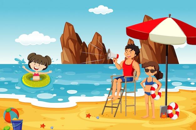 Scena dell'oceano con gente che si diverte sulla spiaggia