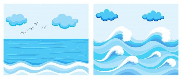 Scena dell'oceano con le onde